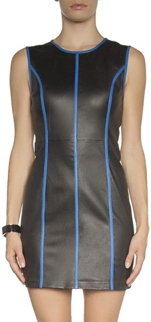 Dina Agam Women's Blue-Trimmed Stretch Leather Dress