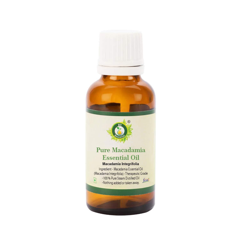 Macadamia Essential Oil | Macadamia Integrifolia | For Hair | For Face | For Skin | Pure Macadamia Oil | 100% Pure Natural | Steam Distilled | Therapeutic Grade | 5ml | 0.169oz By R V Essential