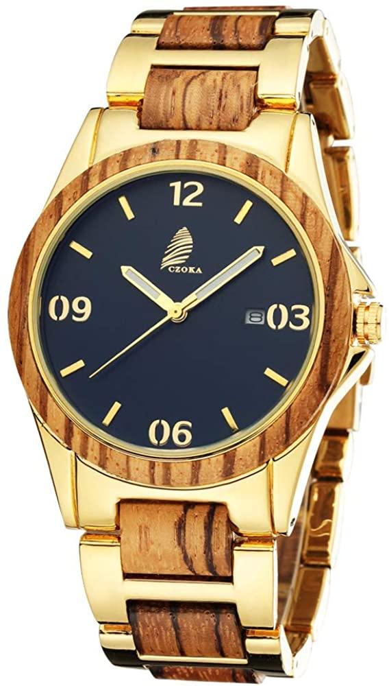 Wooden Watches for Men Women, CZOKA Sandalwood Wood/Ebony/Zebra Japan Quartz Chronograph Watch with Adjustable Strap, Waterproof Watch Backlight Chronograph Watches for Men