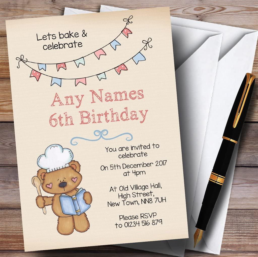 Teddy Bear Cake Baking Childrens Birthday Party Invitations