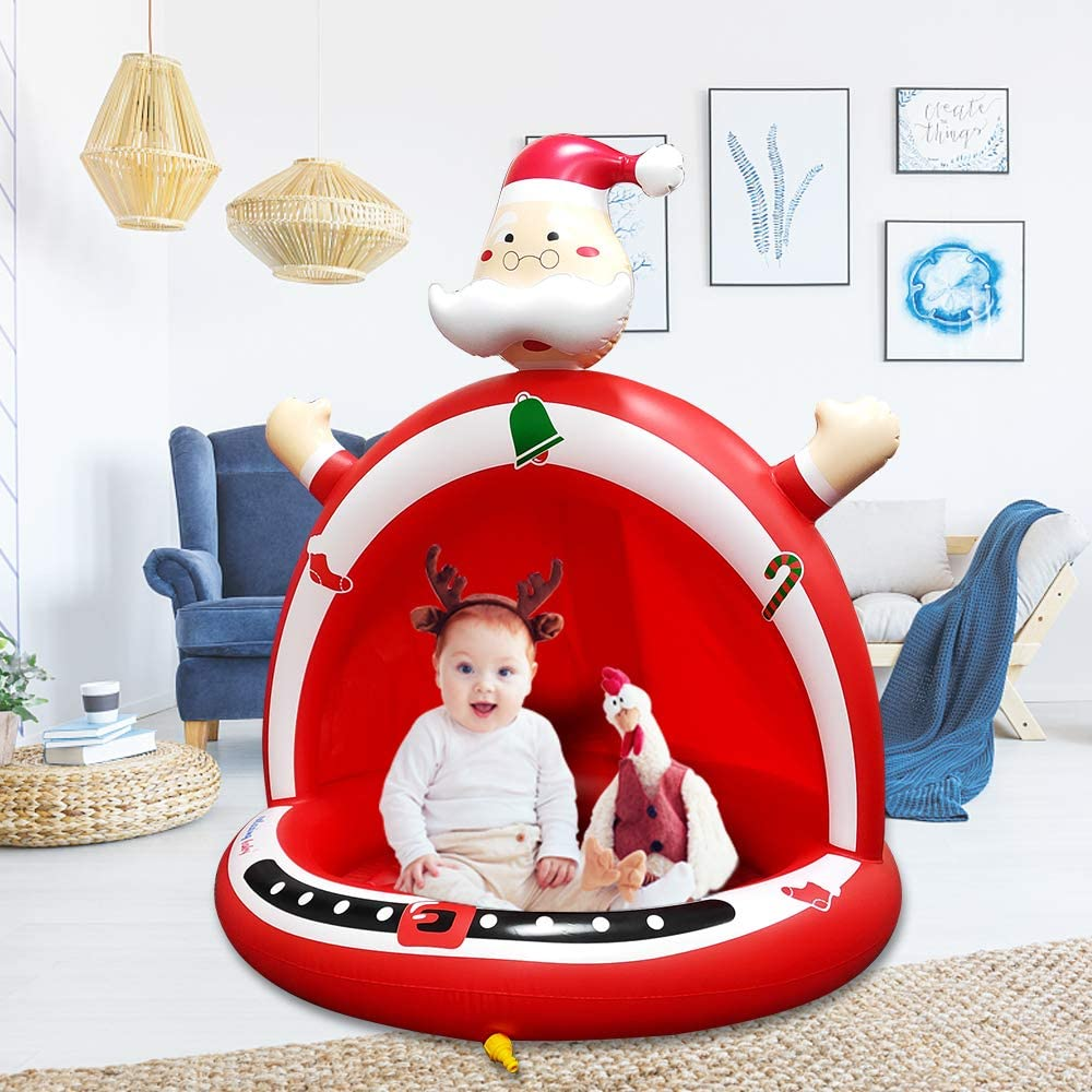 relaxing baby Kiddie Pools,Santa Claus Splash Toddlers Swimming Pool with Canopy Best Merry for Boys Girls Suitable for Indoor Outdoor Game Play Center