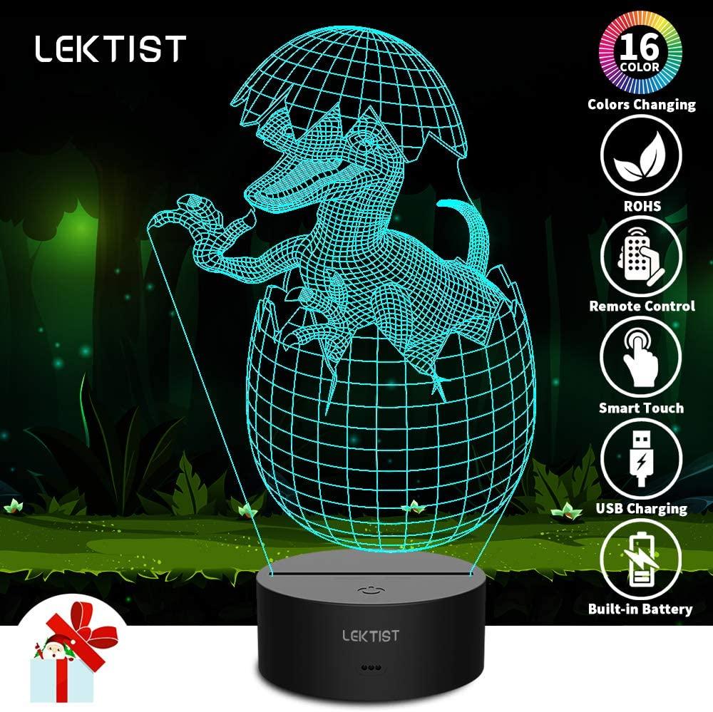 LEKTIST Newborn Dinosaur 3D Illusion Lamp - 3D Night Light for Kids Dinosaur Toys Children Birthday 16 Colors Lighting Desk Lamp with Remote