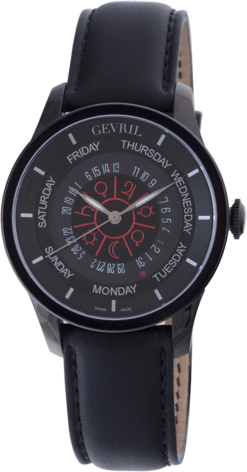 Gevril Columbus Circle Mens Swiss Automatic Black Leather Strap Watch, (Model: 2001)