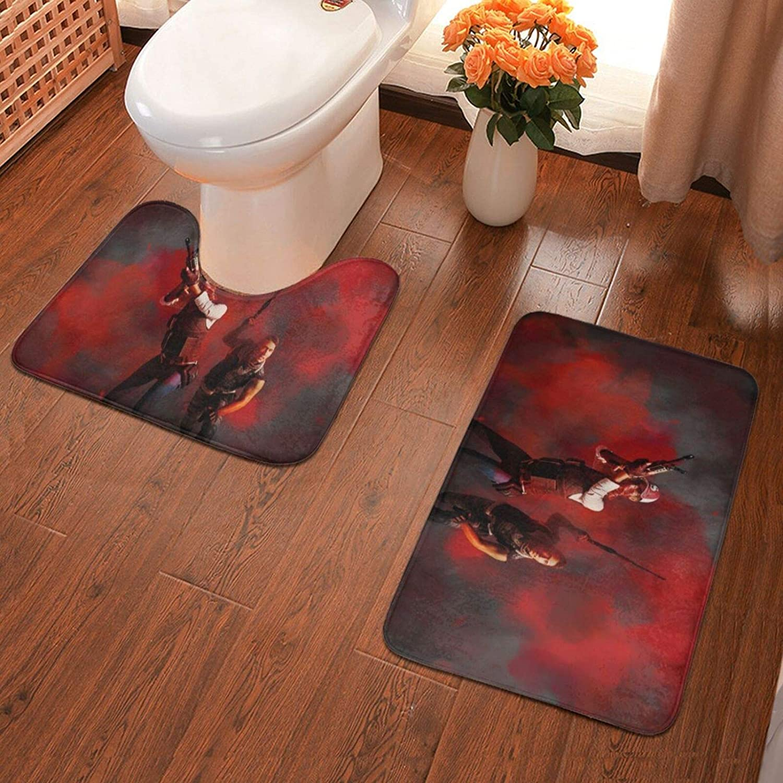 Kuritian Pubg-32 Bathroom Antiskid Pad Non-Slip Bath Carpet Floor Mat Rug 2 Pieces Toilet Blanket Mats 40 X 60cm