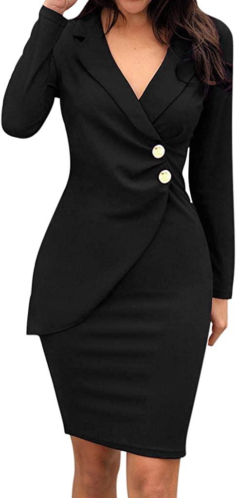 JSPOYOU Women Dresses Solid Turn Down Neck Long Sleeve Casaul Work Formal Dress