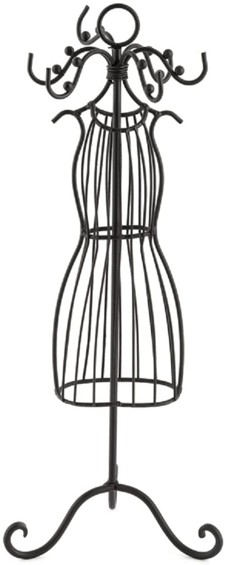Mardel Wire Dress Form Jewelry Stand, Metal, Black, 14 x 4-1/2 Inches