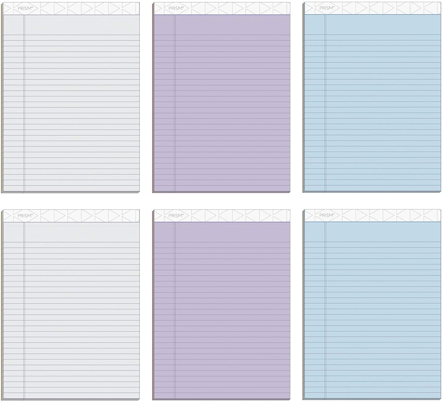 TOPS Prism+ Writing Pads, 8-1/2 x 11-3/4, Assorted Colors 2 Each: Gray, Orchid, Blue, Legal Rule, 50 Sheets, Perforated Pages, 6 Pack (63116)