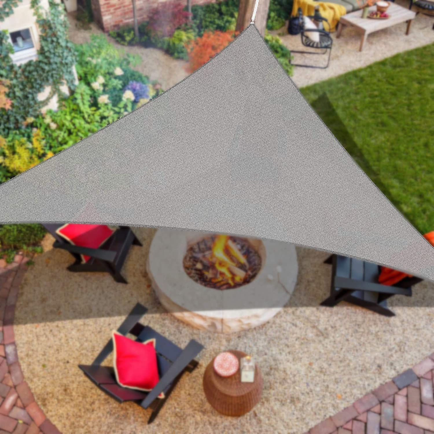 iCOVER Sun Shade Sail 12' x 12' x 12' Triangle Canopy, 185GSM Fabric Permeable Pergolas Top Cover, for Outdoor Patio Lawn Garden Backyard Awning, Grey