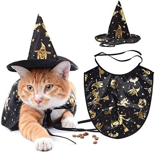 DUBASAM 2Pcs Pet Vampire Halloween Costume, Cat Dog Vampire Cloak and Witch Hat for Halloween Party, Holiday Cosplay Kitten Puppy Pet Clothes