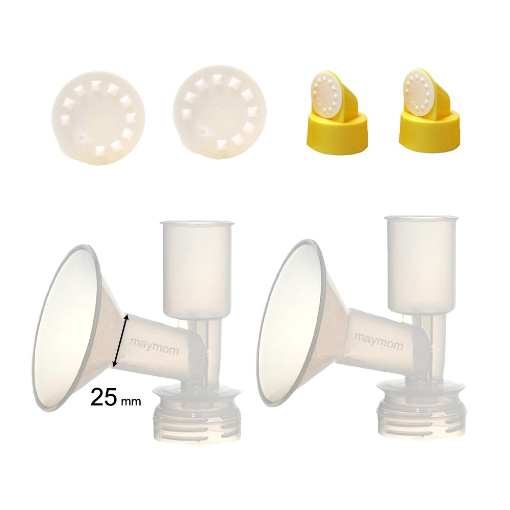 Maymom Non-Duckbill, Replacement Flange Kit (Can Replace Ameda Standard Flange) for Ameda Purely Yours, Ultra Breastpump, Dual-Function Flange 25 mm, with Vave/Membrane; Made by Maymom