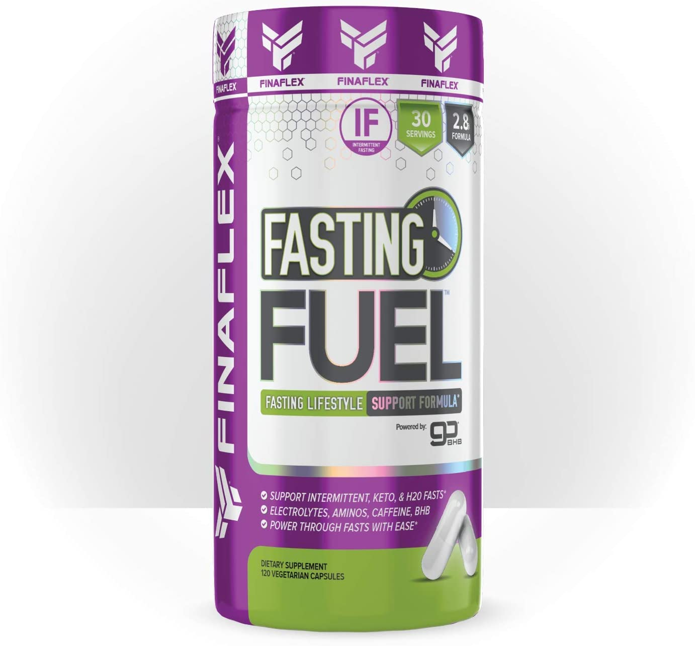 Fasting Fuel Support Intermittent, Keto, and Water Fasting, Electrolytes, Aminos, Caffeine, BHB, Power Through Fasts with Ease (120 Capsules)