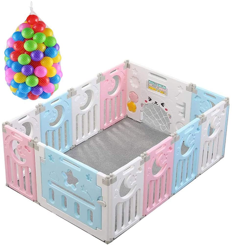HEWEI Baby playpen Large Safe Playground Easy to Assemble and Remove with 12 Activity Fields and Doors Easy with playmats and Balls for Children's Gifts