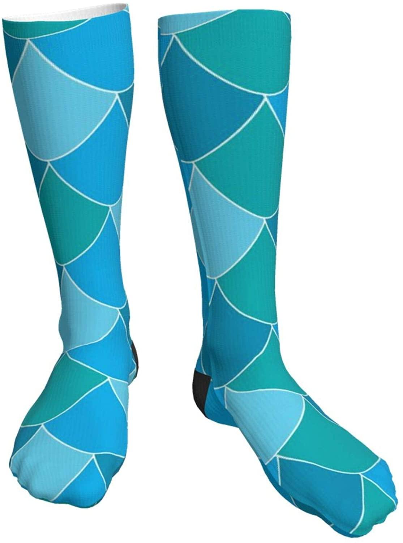 Colorful Navy Mermaid Fish Scale Womens Mens Socks Dress Hose Thick Long Liner