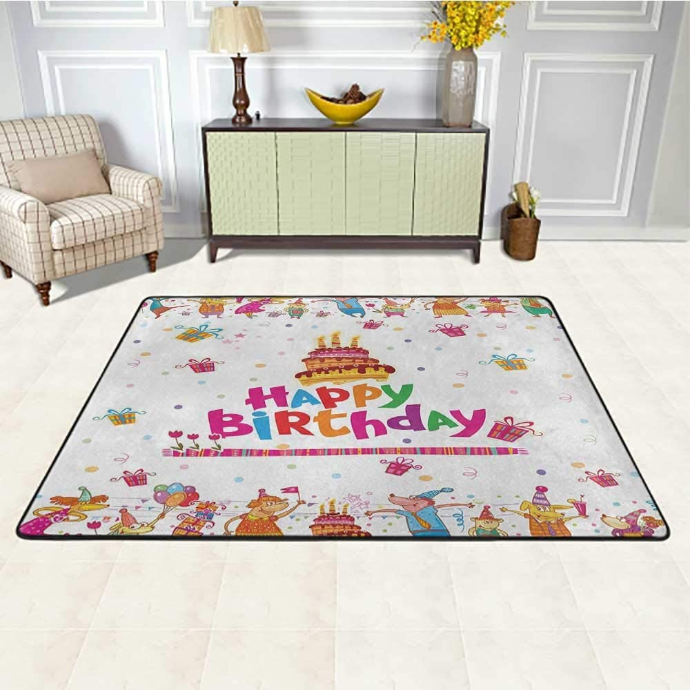 Birthday Rugs and Carpets 5' x 8', Joyful Mouses Partying Presents and Delicious Cake with Candles Festive Cartoon Kids Play Rug, Multicolor