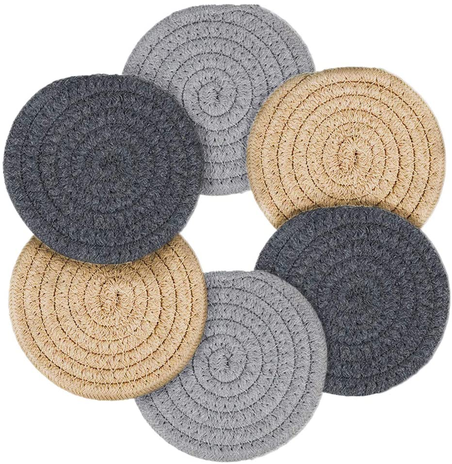 Makya Coasters for Drinks, Handmade Braided Coaster Set 4.3 Inch Thicken Heat Insulation Coasters for Drinks Absorbent