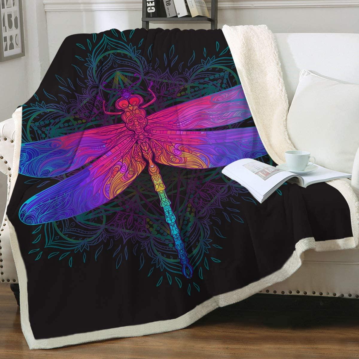 Sleepwish Dragonfly Fleece Throw Blanket Neon Blue Purple Pink Dragonfly Blankets Boho Insect Print Sherpa Blanket for Kids Teens Adults