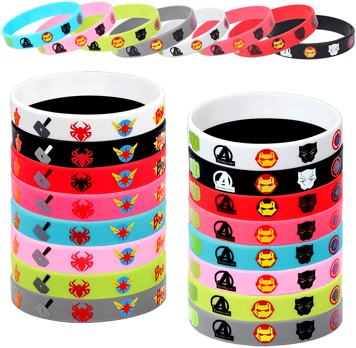 32pcs Superhero Bracelets - Avengers Toys Rubber Wristbands for Kids Boys Girls Super Hero Costume Birthday Party Supplies Favors - Cartoon Game Decorations Carnival Prizes Gift