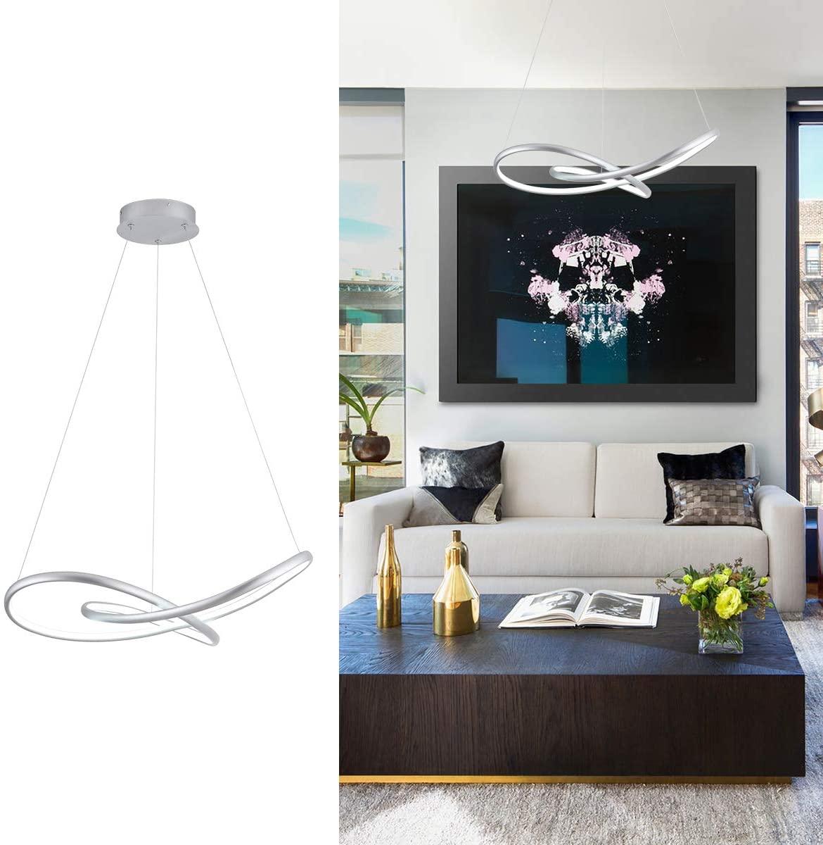 MADEM Modern LED Chandelier Dimmable Chic Circular LED Pendant Light Adjustable Irregular Pendant Lighting Contemporary Chandelier for Living Dining Room Bedroom Kitchen, Cool White 6000K, Silver