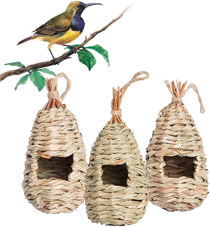 ACTREY Hummingbird House Set of 3, Hand Woven Hummingbird House, Small Hanging Audubon Birdhouse,Hanging Natural Grass Bird Nest, Resting Place for Finch & Canary