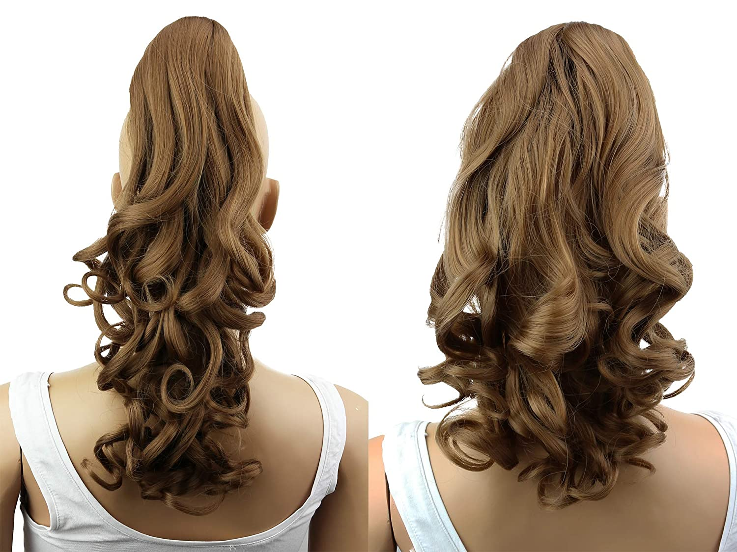 PRETTYSHOP 20 & 120g Hair Piece Pony Tail Extension 2 IN 1 Curled Wavy Heat-Resisting Diverse Colors (dark blonde 27 H9-2)