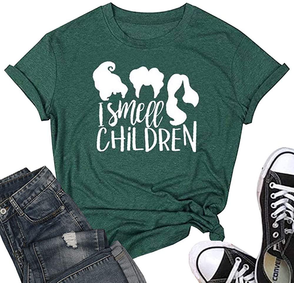 T&Twenties Women's I Smell Children Halloween Shirt Sanderson Sisters Graphic T Shirt FunnyShort Sleeve Tee Tops