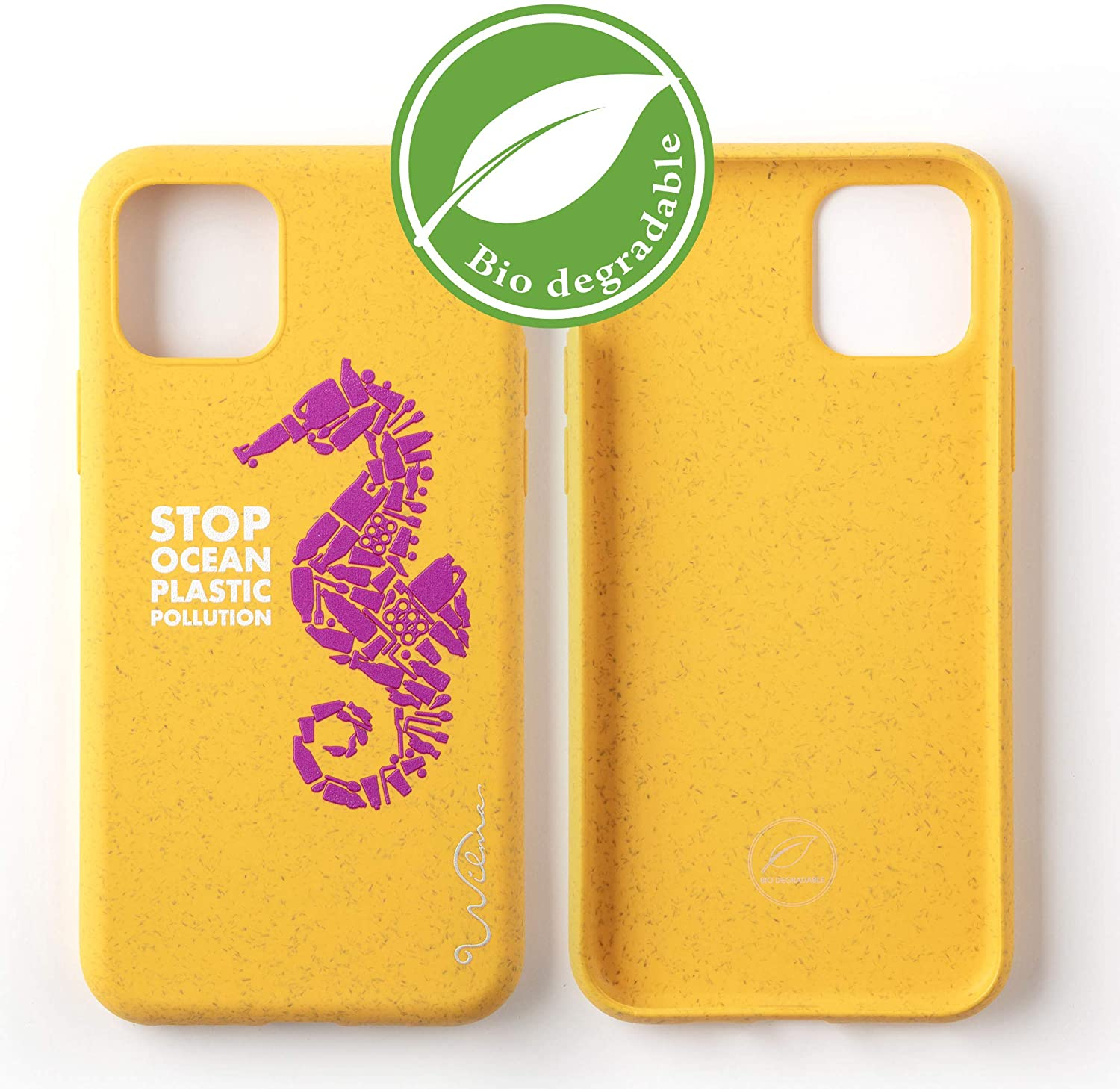 Wilma Eco-Friendly, Biodegradable Mobile Phone Case Compatible with iPhone 11 Pro, Stop Sea Plastic Dirt, Plastic-Free, Waste Free, Non-Toxic, Full Protection Case Seahorse