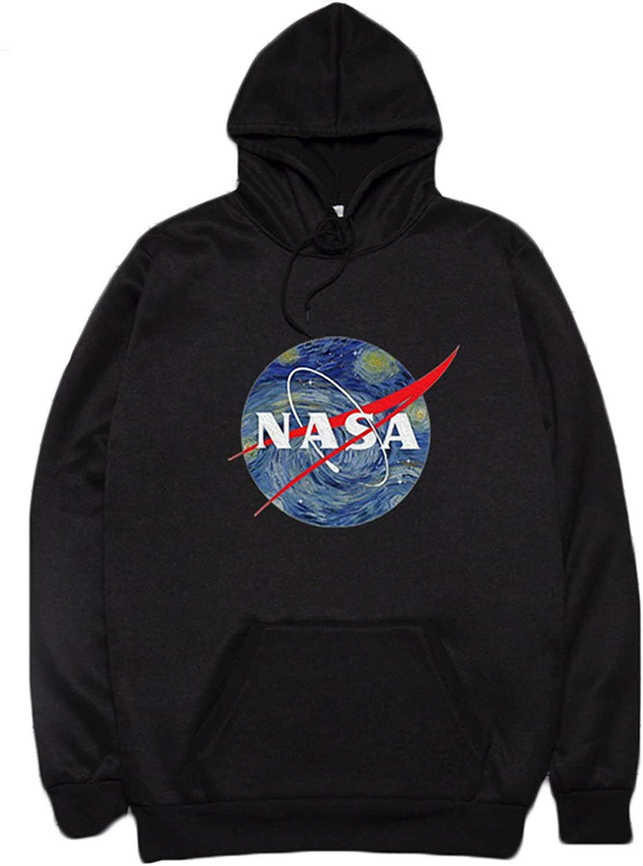 CORIRESHA NASA Starry Night Logo Print Kangaroo Pocket Long Sleeve Hooded Sweatshirt Sweater Pullover