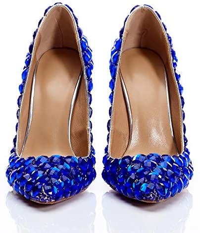 MEA DIVA Women Special Bling Blue Diamonds Heel Shoes