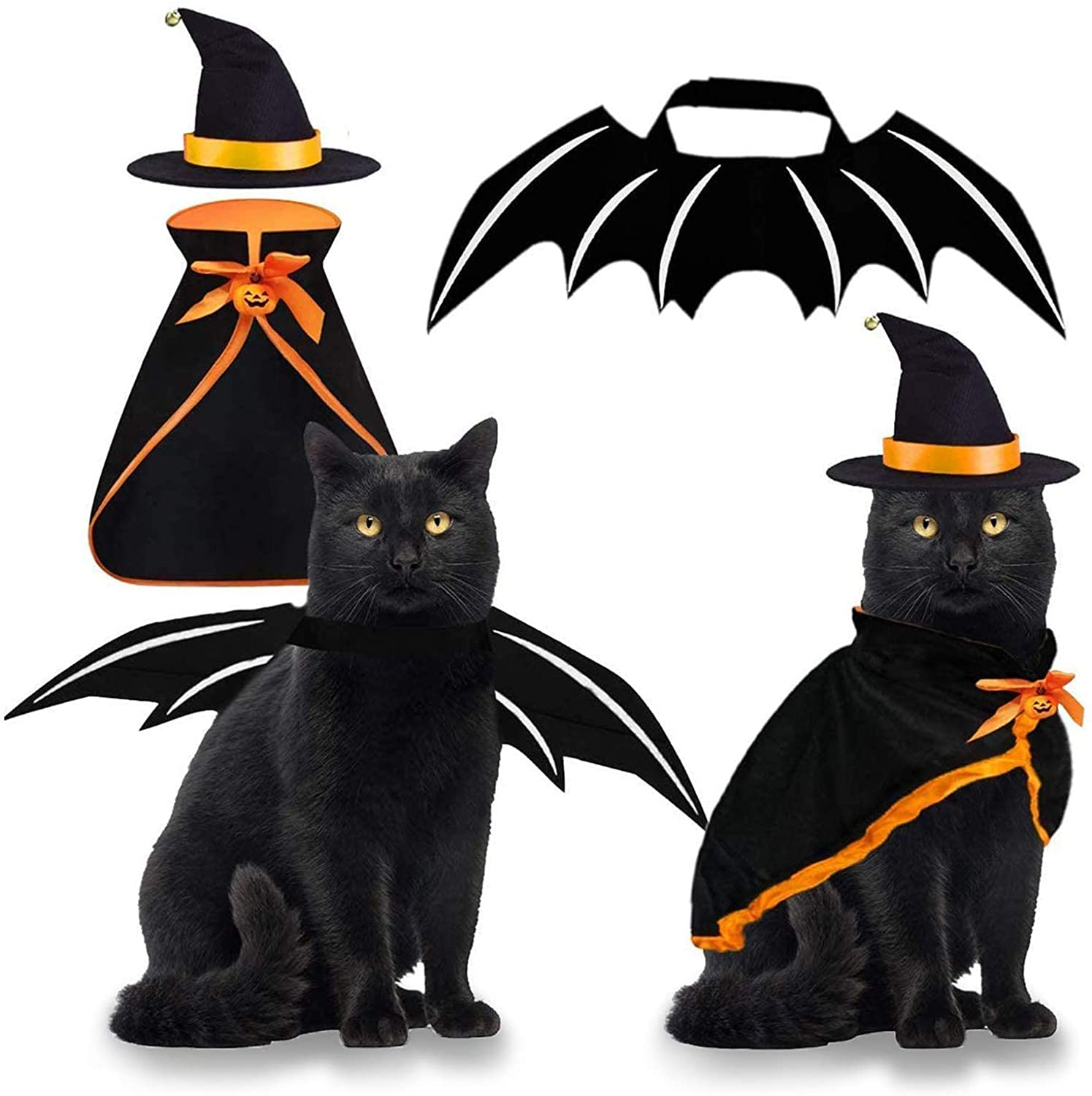Byhoo Pet Costume Cat Cosplay Witch Cloak Bat Wings Wizard Hat 3 PCS Pet Clothes for Small Cats Kitten Funny Magical Holiday Decorations for Halloween Theme Party Pumpkin Easter Gift