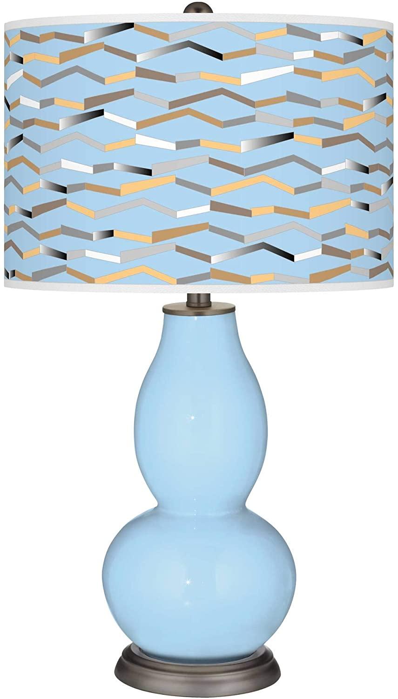Wild Blue Yonder Shift Double Gourd Table Lamp - Color + Plus
