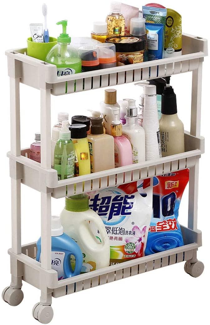 FeiQiangQiang Gap Storage Rack Slot Cabinet Mobile Bathroom Toilet Finishing Rack Landing Household Kitchen cart
