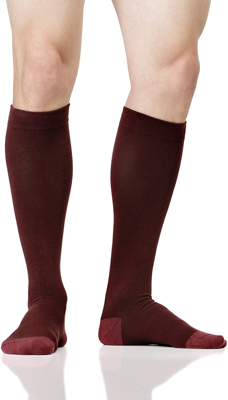 LOLLOP Men's Cotton 15-20 mmHg Compression Socks (Maroon, L/XL)