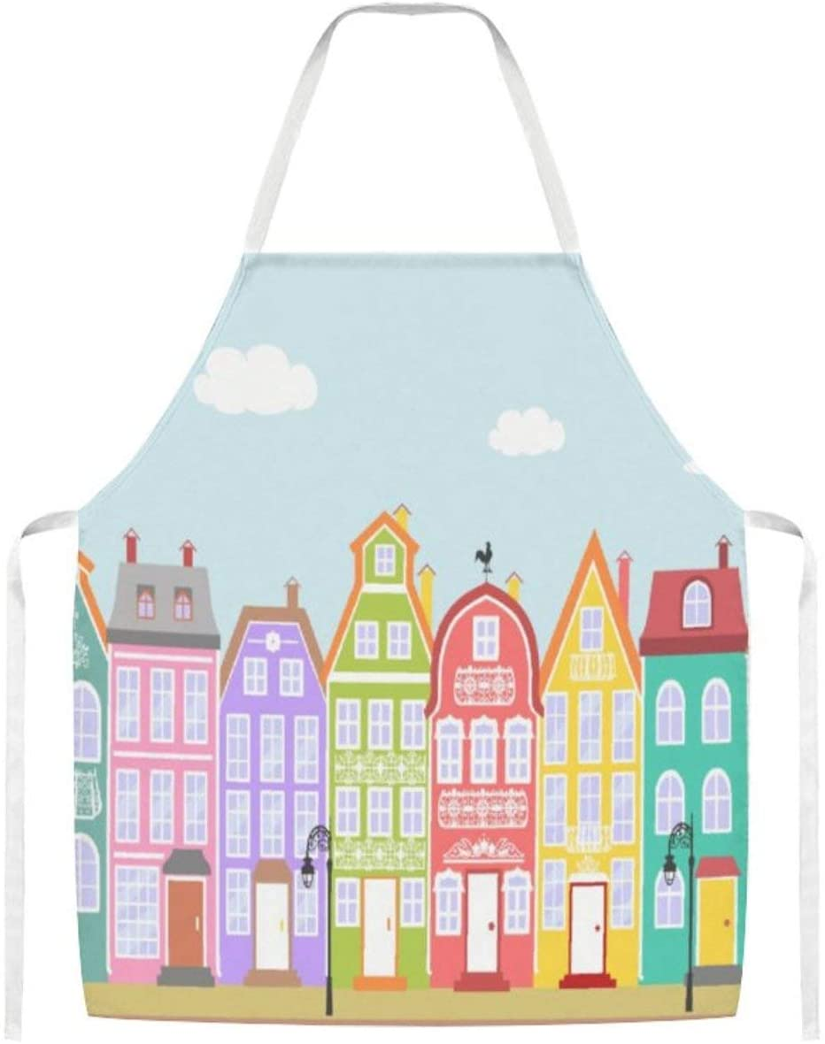 Cute Old Town Cartoon Houses Home Kitchen Cooking Grill Aprons for Women Men Chef