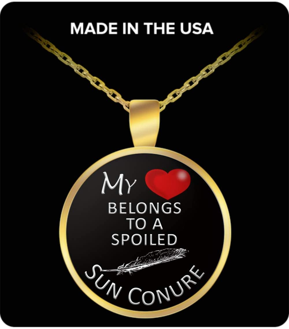 Ellemar Sun Conure Gold Plated Pendant Necklace, Accessories, Stuff, Items for Handler, Lover, Owner, Mom, Dad - My Heart Belongs to A Spoiled Bird