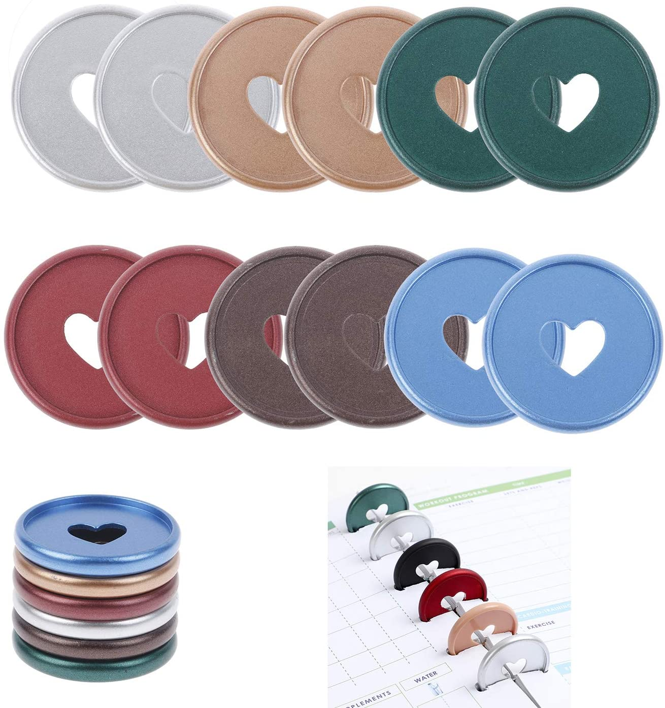 Xgood 90 Pieces Binding Discs Plastic Book Binding Discs Colorful Expansion Discs Binding Ring Discs for Add Extra Notes Pages DIY Notebooks Planners,6 Colors