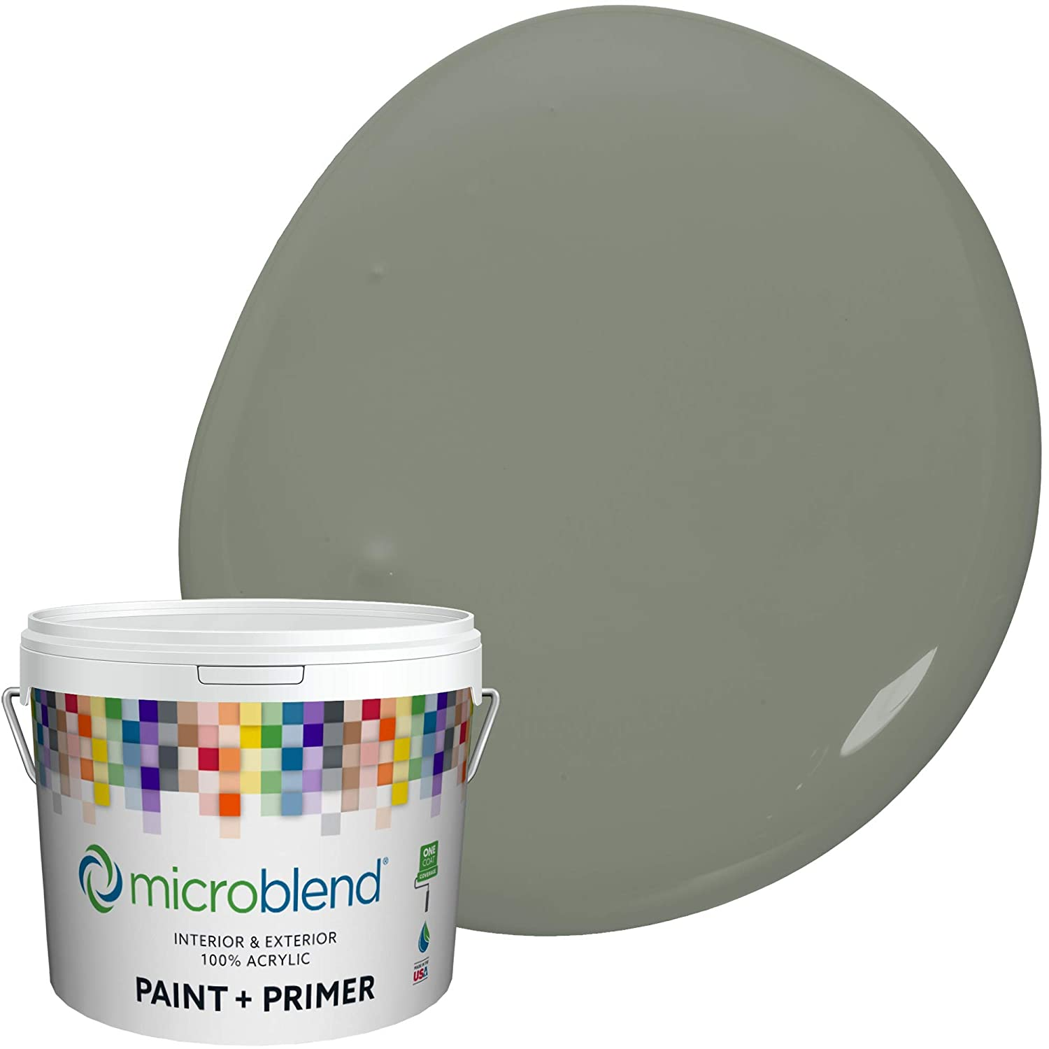 Microblend Interior Paint and Primer - Sage/Jade Magic, Semi-Gloss Sheen, 1-Gallon, Premium Quality, One Coat Hide, Low VOC, Washable, Microblend Neutrals Family