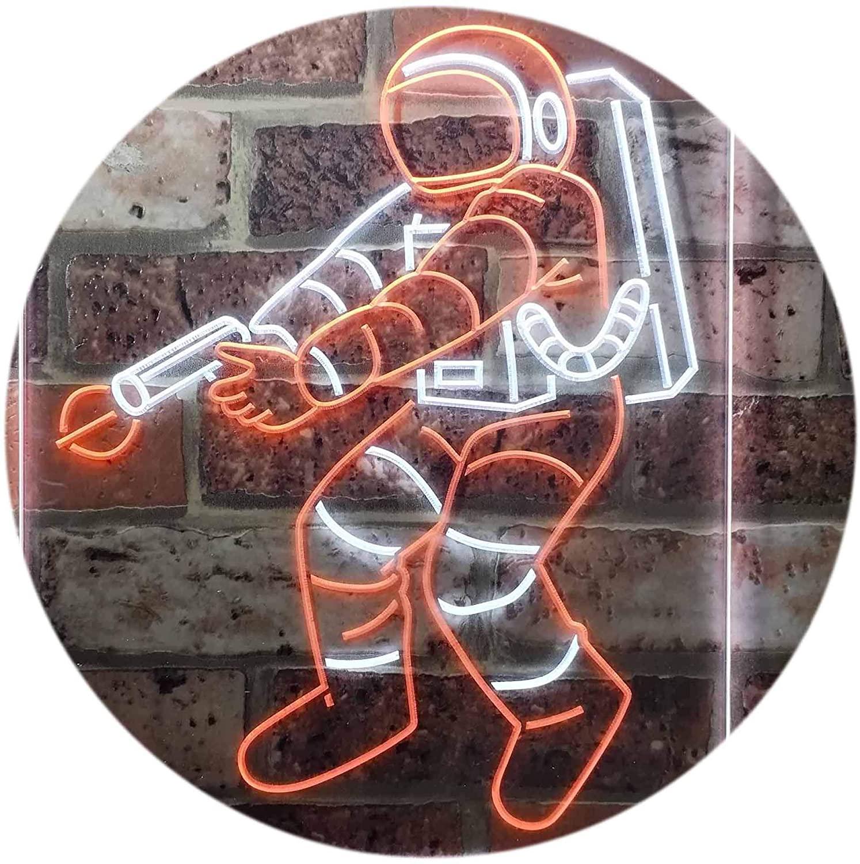 ADVPRO Astronaut Space Rocket Shuttle Kid Room Dual Color LED Neon Sign White & Orange 16