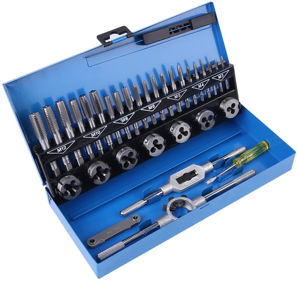 Mootea Thread Tap,32pcs M3-M12 Coarse Pitch Alloy Steel Tap and Die Set with Wrench Thread Gauge Hand Tools