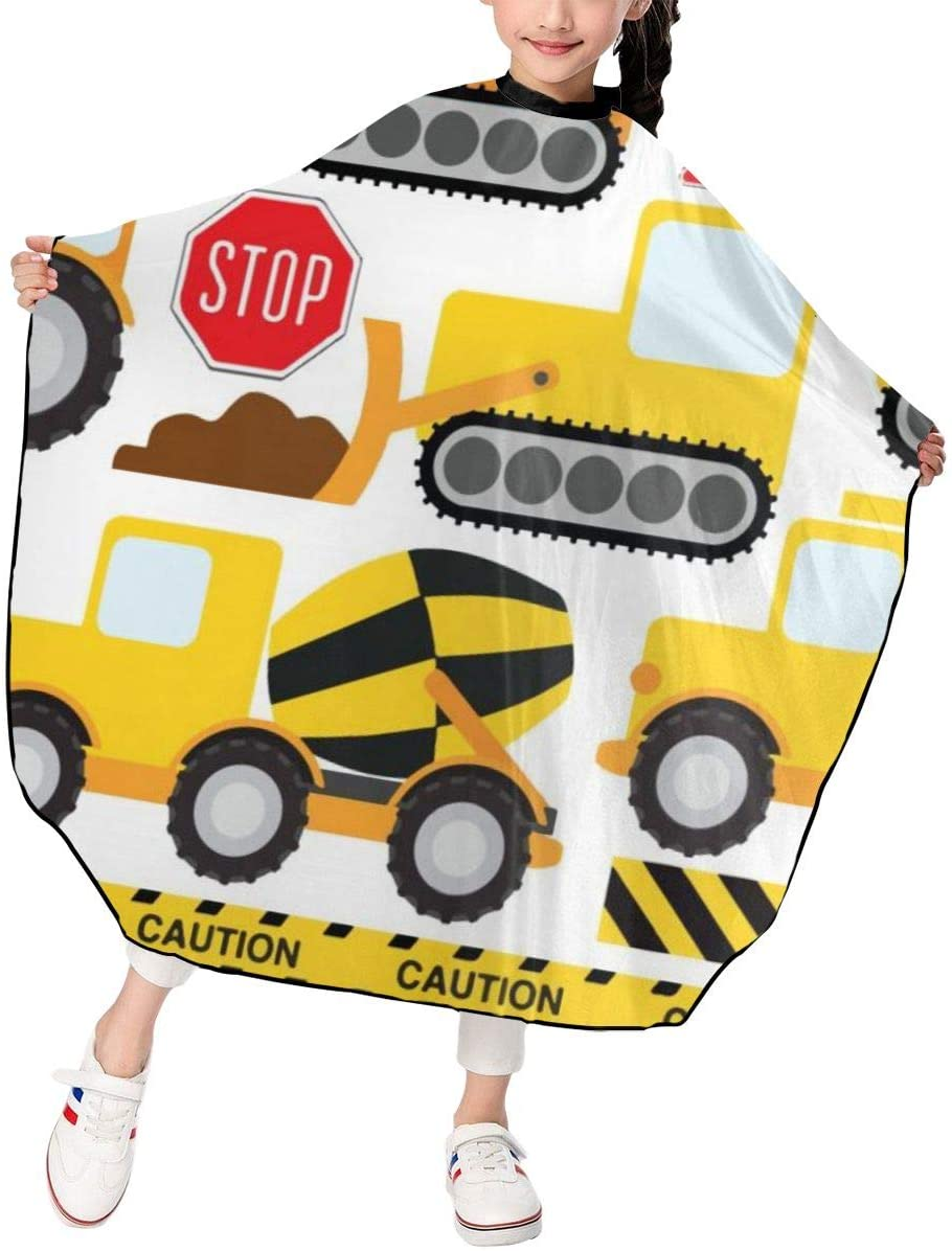 MJhair Construction Crew Vehicles Truck Boys Girls Haircut Barber Cape for Hair Cutting Professional Home Salon Hairdressing Smock Cover