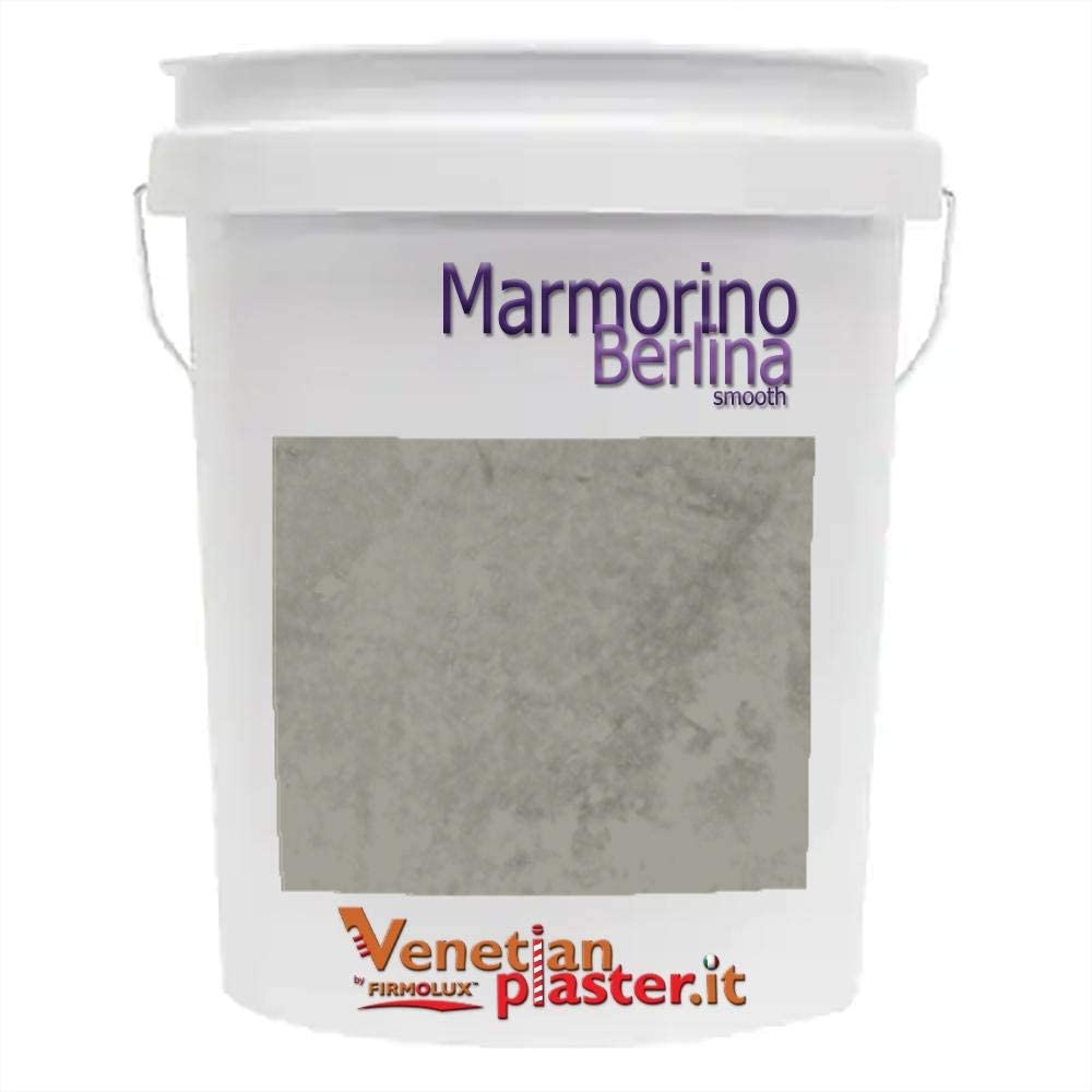 FirmoLux Marmorino Berlina Authentic Venetian Plaster | Smooth Plaster | Made in Italy from Lime & Marble | Gray-Blue Colors (14) | Color: BMCSP-110 Vintage Pewter