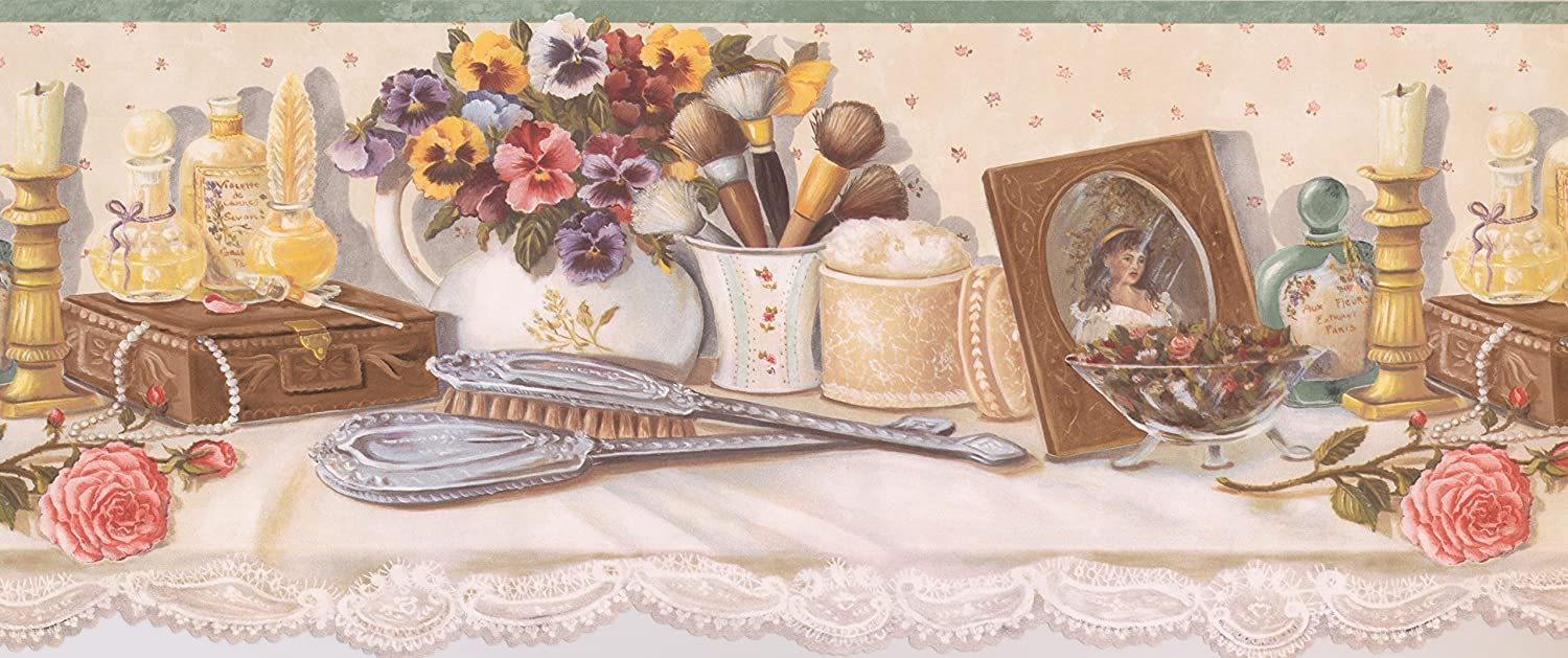 White Cupped Brushes Wallpaper Border 90152 HH