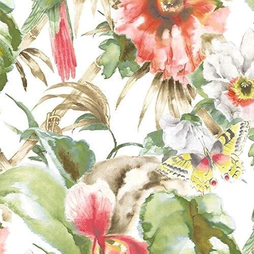 32.7 Ft. X 20.5 in. Vinyl Red Birds of Paradise Wallpaper Covering Animal Print