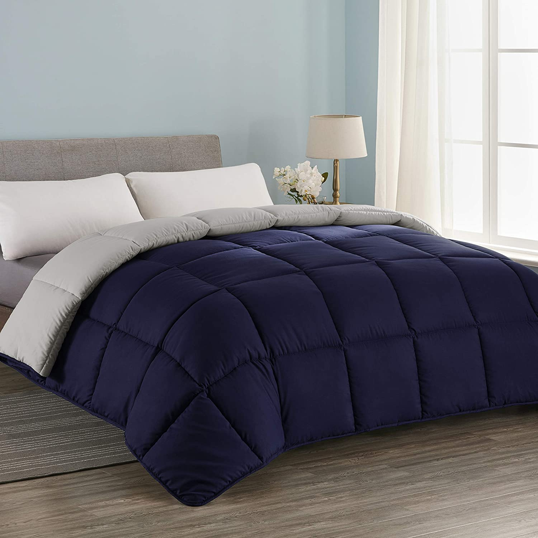 Seward Park All Season Down Alternative Quilted Reversible Comforter, Hypoallergenic, Lightweight, Plush Microfiber Fill, Duvet Insert or Summer Comforter,Navy/Silver Gray, Full/Queen Size