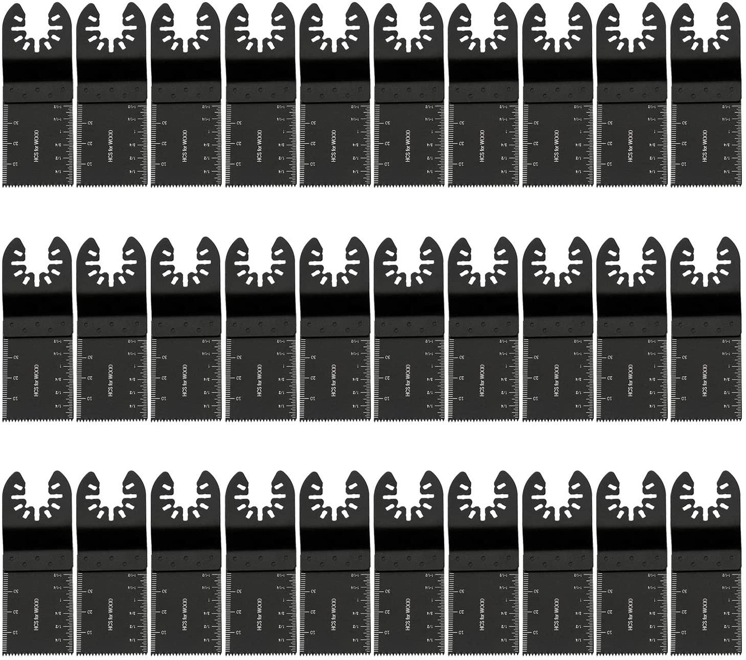HOTBEST 60 Pcs Wood Oscillating Saw Blades Pro for Porter Cable Rockwell Makita Black&Decker Dremel Multimaster Ridgid Craftsman Chicago etc