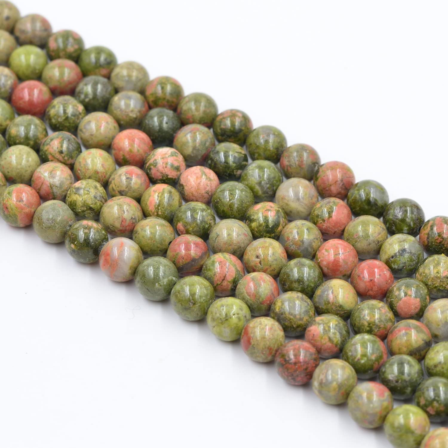 Asingeloo Unakite Natural Stone Loose Beads for Jewelry Making Round Loose Spacer Beads 15inch 10mm Flowe Green Gemstones Crystal Energy Stone Healing Power