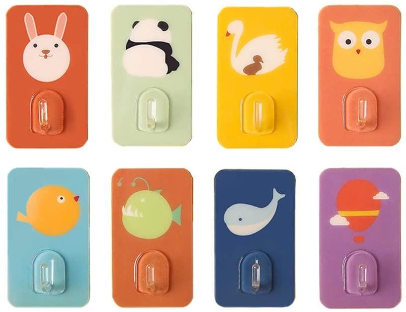 8Pcs Cartoon Strong No-Nail Adhesive Hook No-Punch Hook Bathroom Bathroom Wall Paste Kitchen Hook