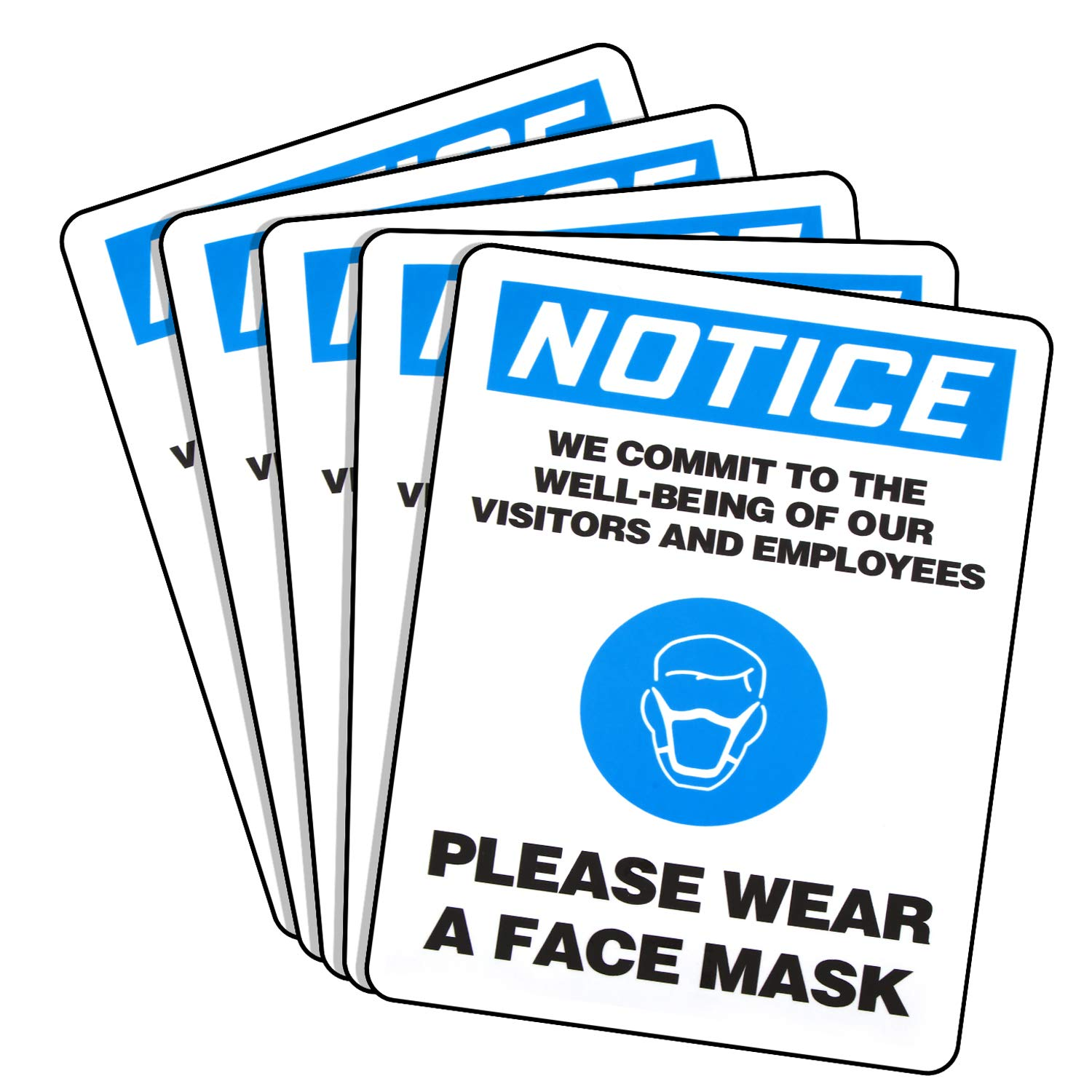 5 Pieces Face Mask Sign Stickers Please Wear a Face Mask Sign Adhesive Vinyl 10 x 7 Inches Peel and Stick Window Door Sign Decal for Company, Supermarket, Mall, Public Places