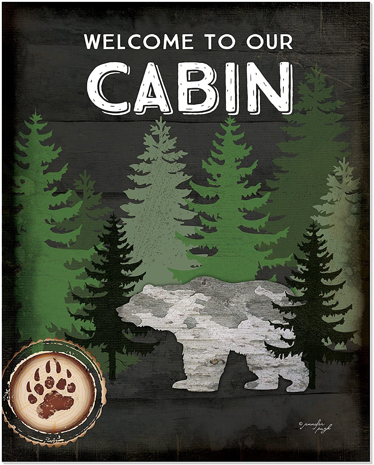 Welcome to Our Cabin Rustic Wood Style Wall Sign 12x15