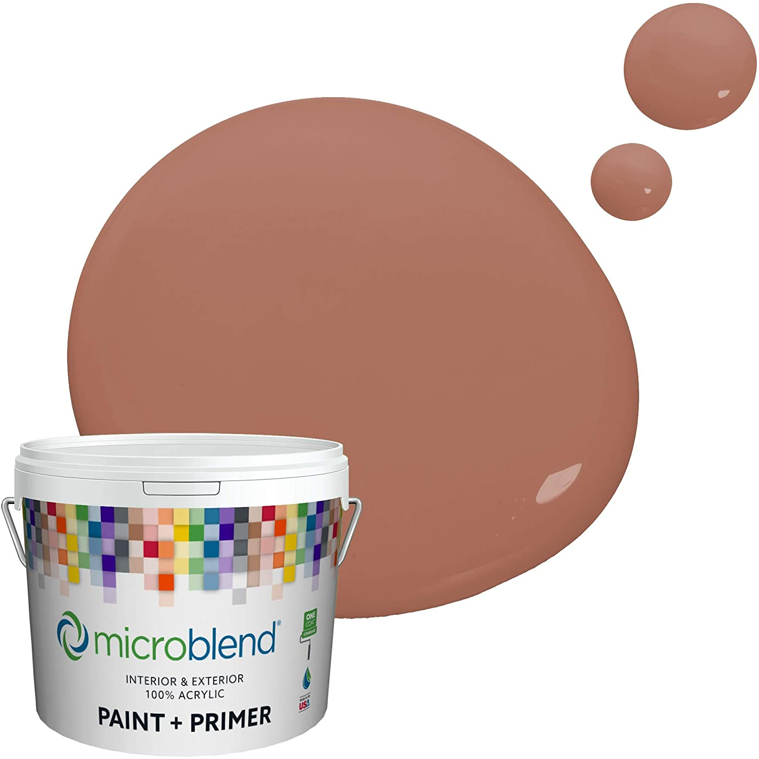 Microblend Interior Paint and Primer - Maroon/Red Headed Beauty, Flat Sheen, 1-Gallon, Premium Quality, One Coat Hide, Low VOC, Washable, Microblend Oranges Family
