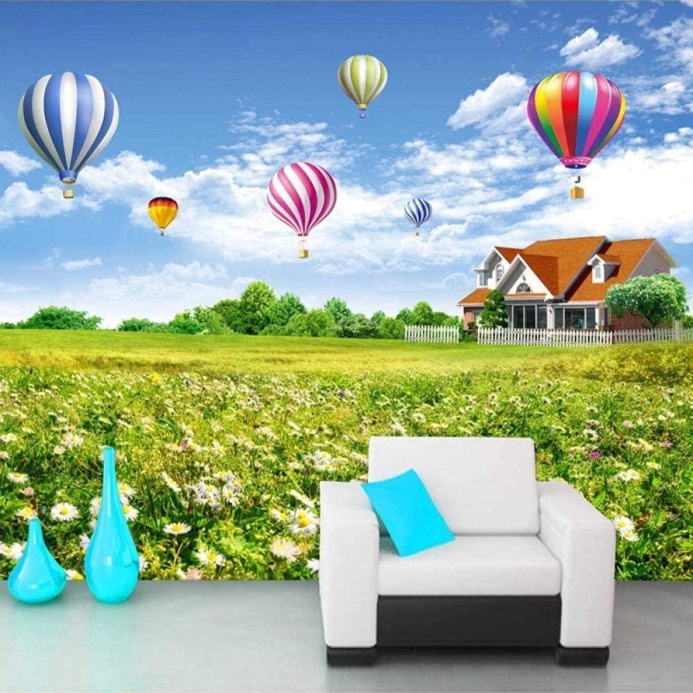 Custom Wall Mural Blue Sky White Clouds Hot Air Balloon Flowers Sea 3D Living Room Children Room Decoration Wallpaper-400X300Cm